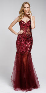 Main image of Long Embellished Halter Tulle Prom Dress