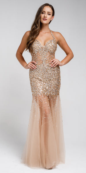 Image of Long Embellished Halter Tulle Prom Dress in Gold