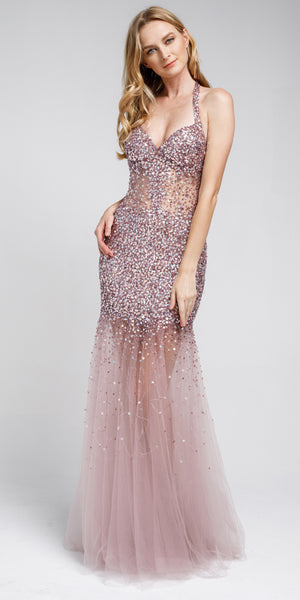 Image of Long Embellished Halter Tulle Prom Dress in Rose