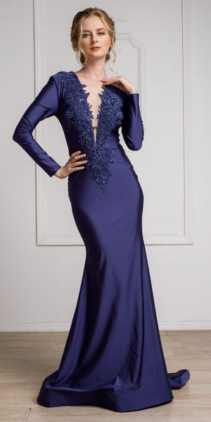 Image of Fitted & Embellished Full Sleeve Prom Gown in Navy