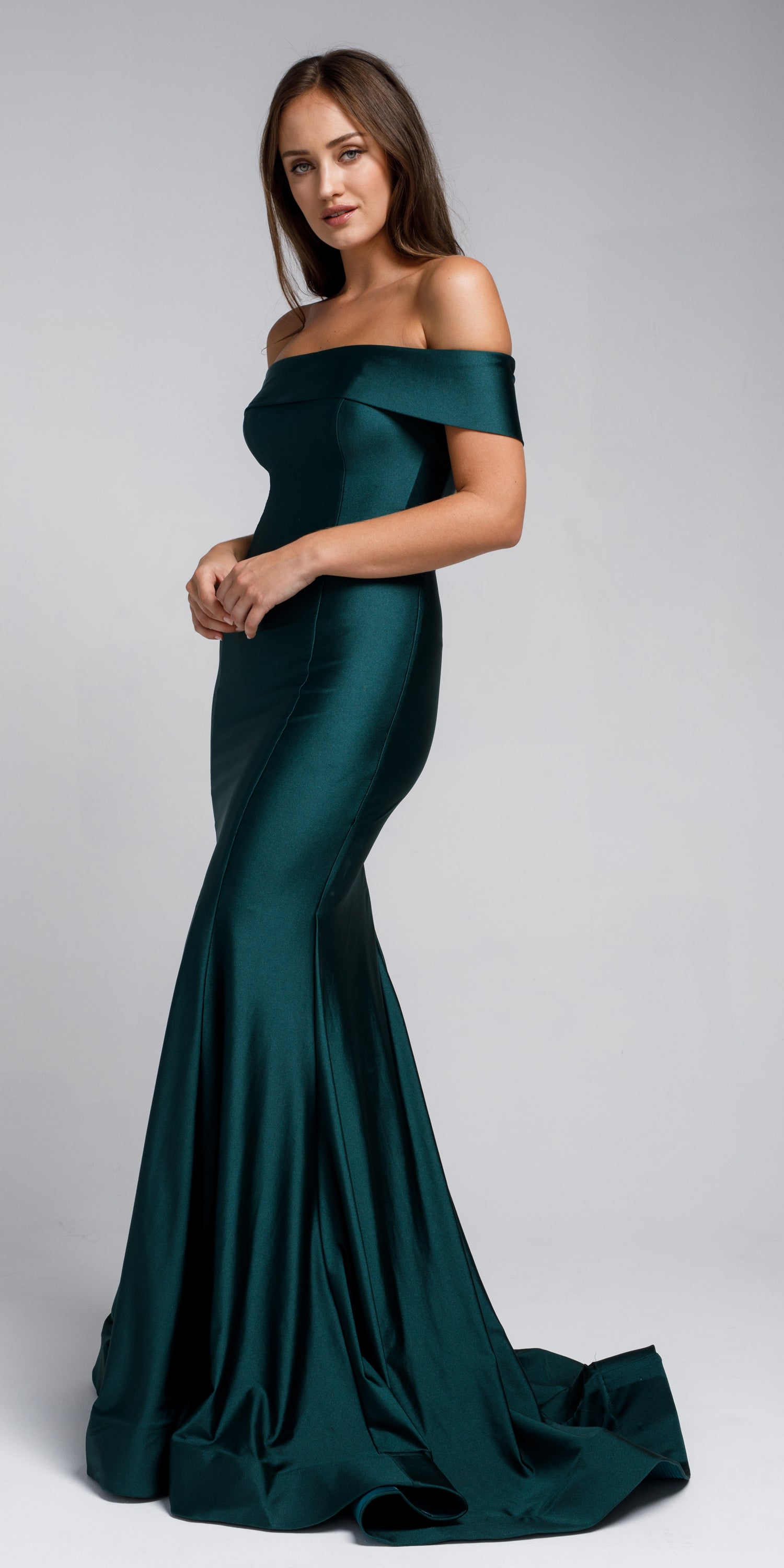 Image of Off Shoulder Fitted Prom Gown in Green