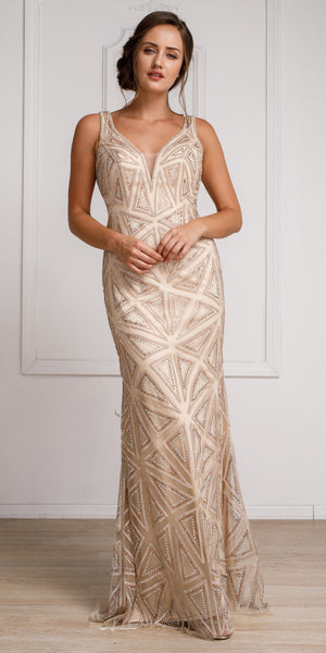 Image of Decollete Neckline Geometric Prom Gown in Champaign