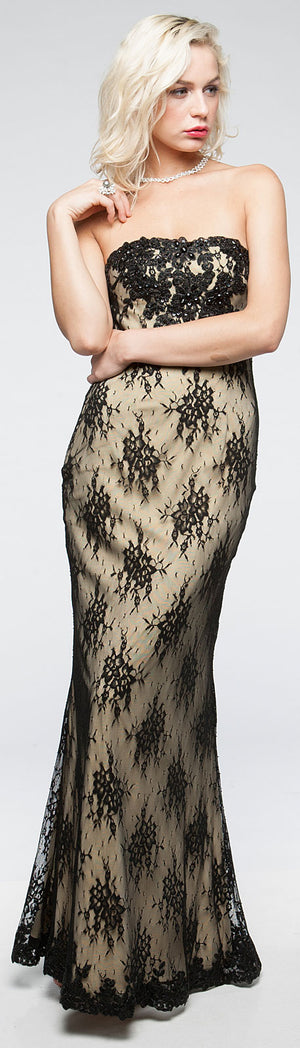 Image of Strapless Floral Mesh Beaded Long Formal Evening Dress  in alternative picture