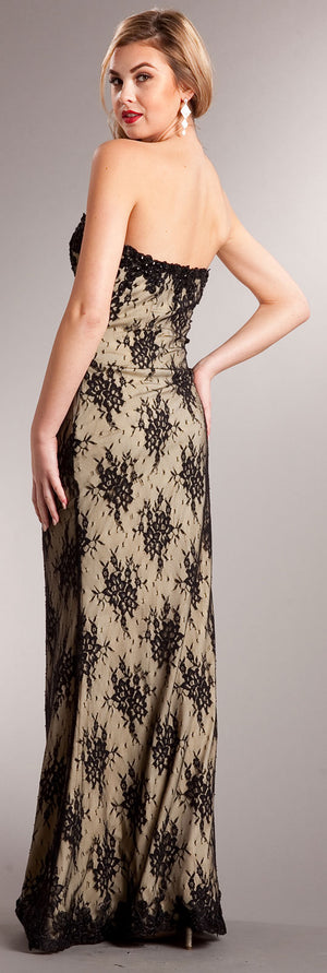 Back image of Strapless Floral Mesh Beaded Long Formal Evening Dress