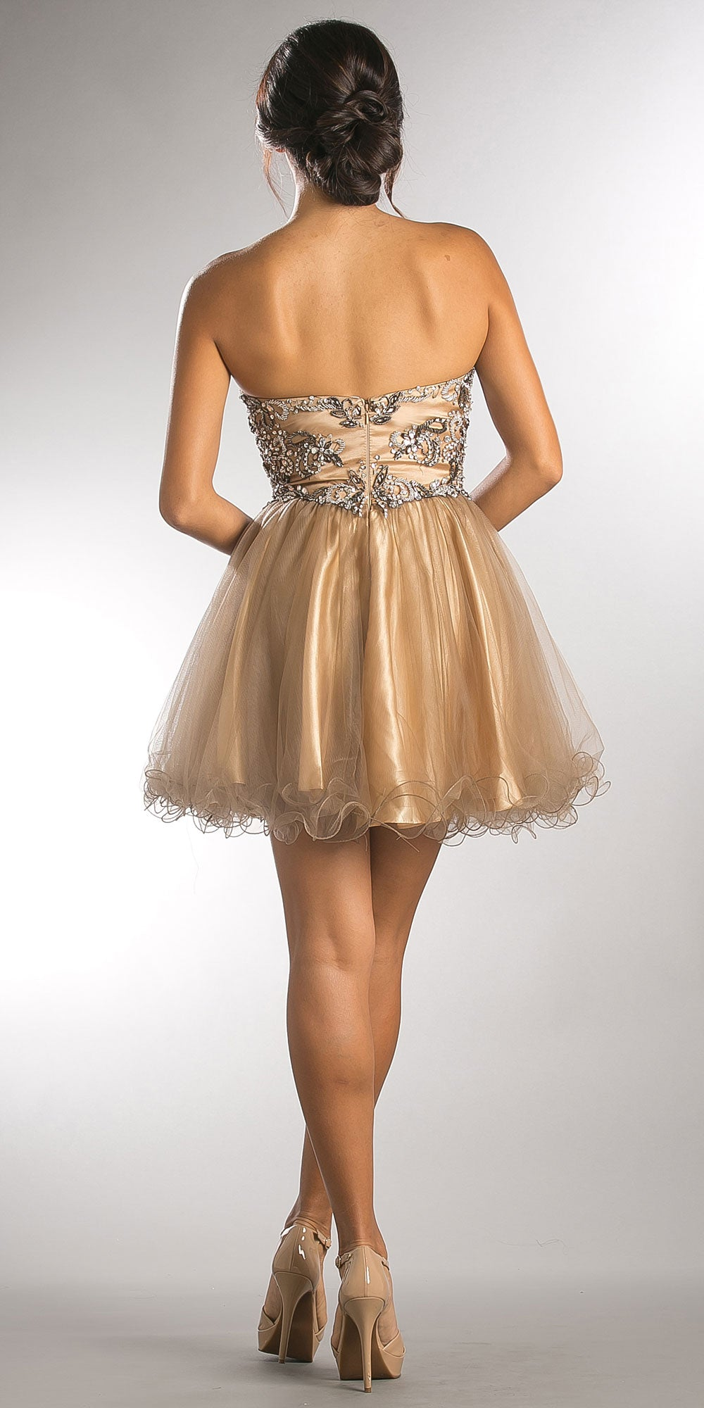 Back image of Strapless Satin Beaded Top Short Tulle Homecoming Dress