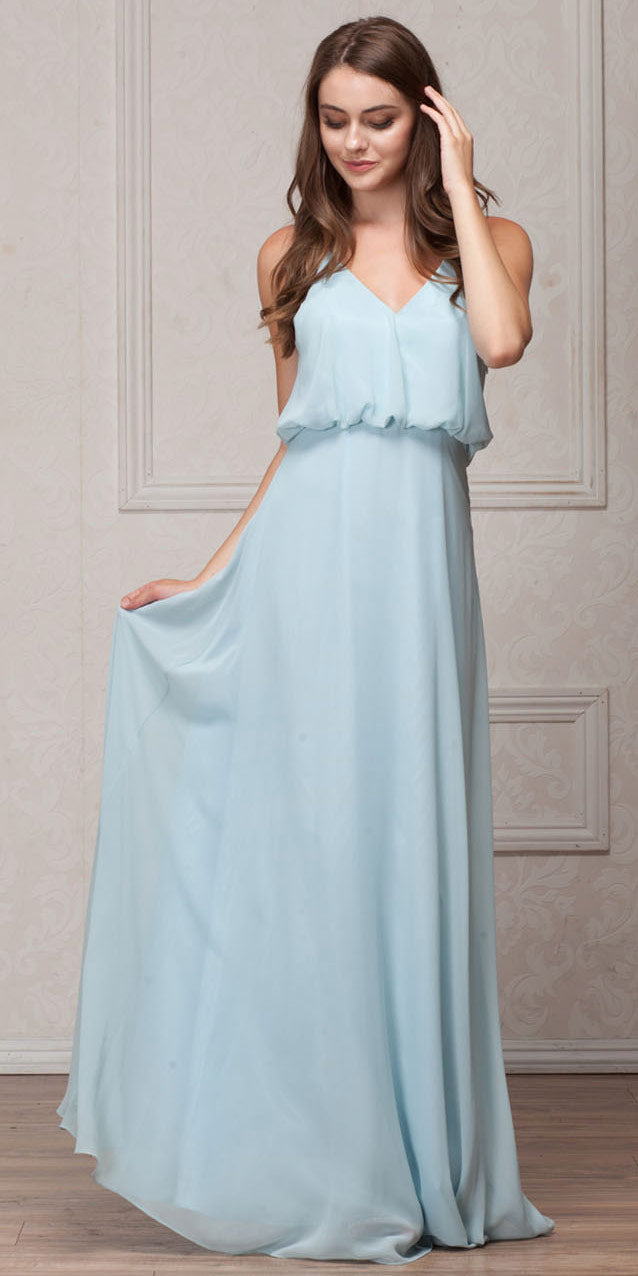 Image of Spaghetti Straps V-neck Blouson Top Long Bridesmaid Dress in Sea Foam