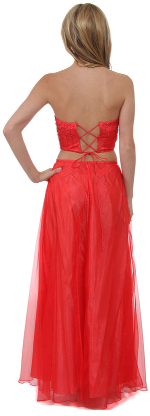 Back image of Criss Crossed Strapless 2 Pc Dress