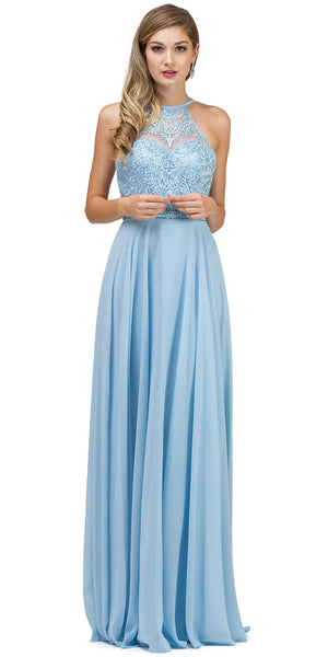 Image of Embroidered Bodice High Neck Long Chiffon Prom Formal Dress in Skyblue