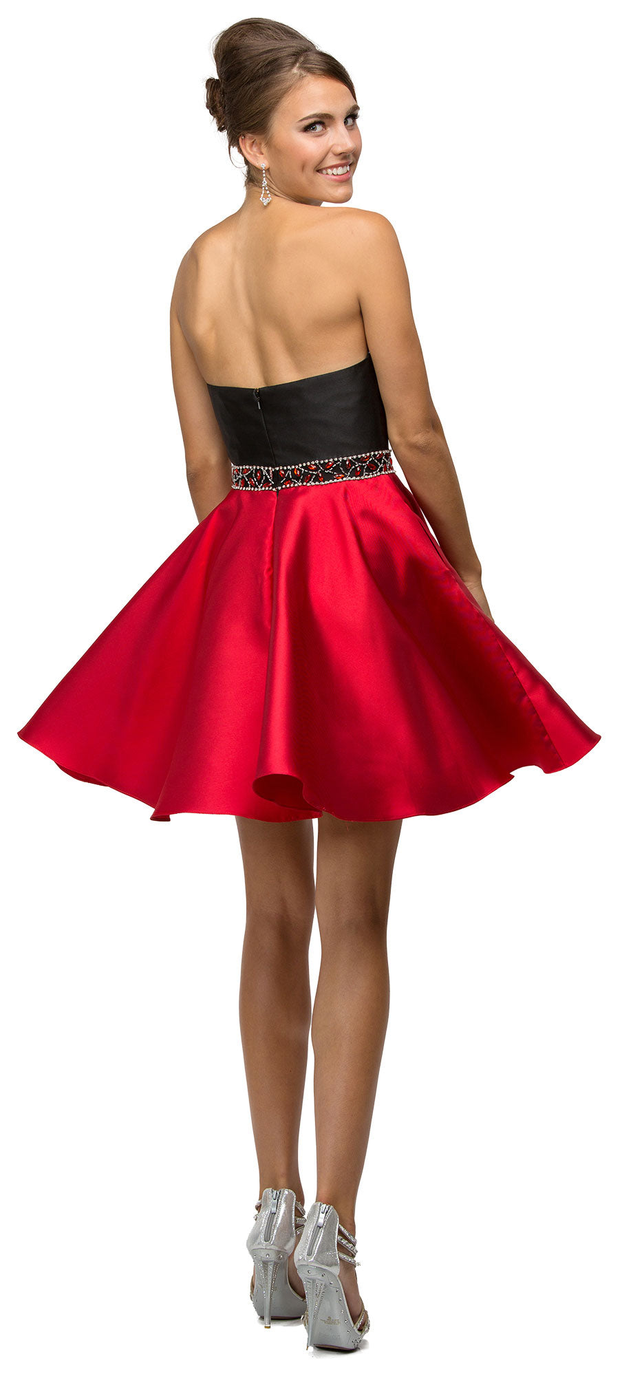 Back image of Strapless Sweetheart Two Tone Short Homecoming Party Dress
