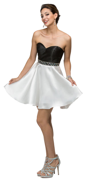 Image of Strapless Sweetheart Two Tone Short Homecoming Party Dress in an alternative image