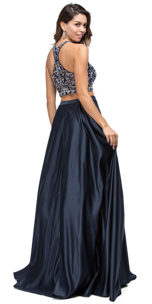 Back image of Beaded Racer Back Top Satin Long Prom Two-piece Dress