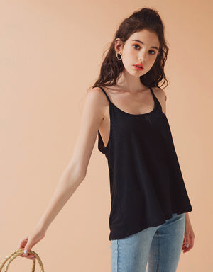 Thin Strap U Neck Knitted Cami