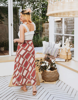 Printed Tie Wrap Skirt