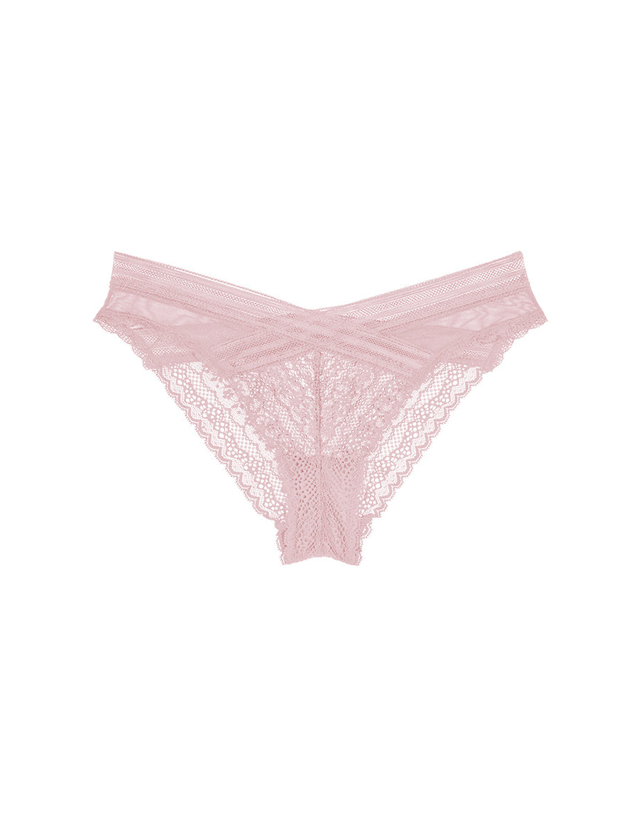 Cross Floral Lace and Mesh Cheeky Panty