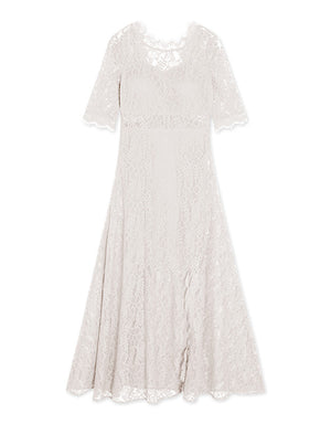 CHIAO Deep V Back Eyelash Lace Long Split Dress