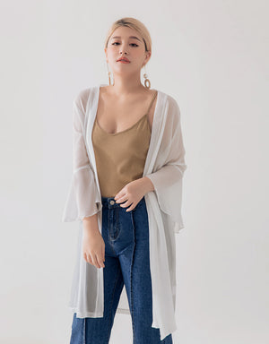 Thin Cardigan with Fluted Sleeve