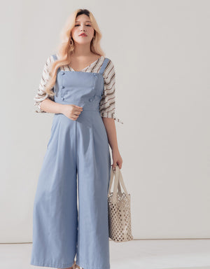 Textured Double-breasted Belted Jumpsuit