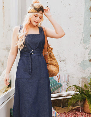 Denim Crossover Square Neck Dress