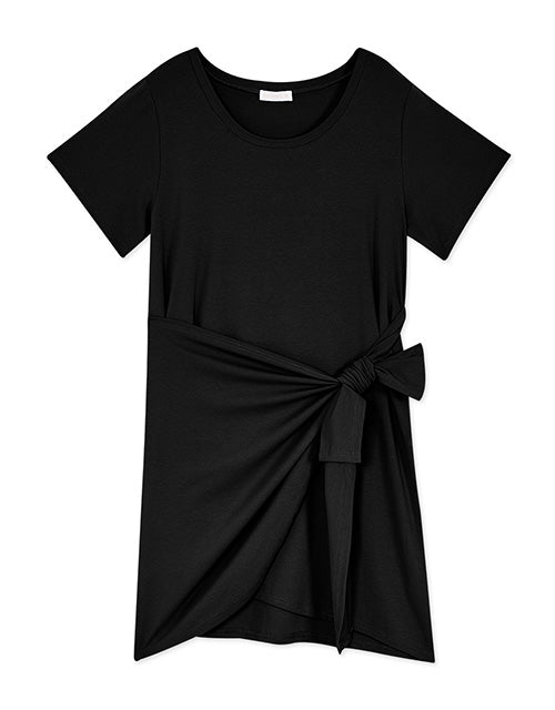 Round Neck Side Tie Short Sleeves Dress