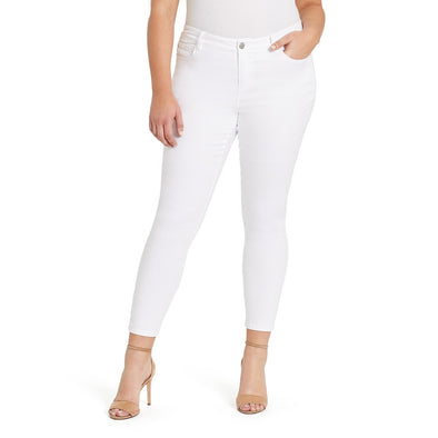 Mid-rise Skinny Ankle Jeans - White (Plus)