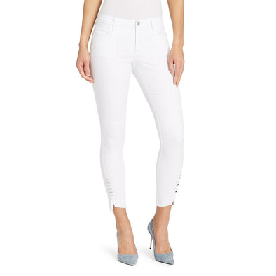 Mid-rise Skinny Twisted Side Jeans - White