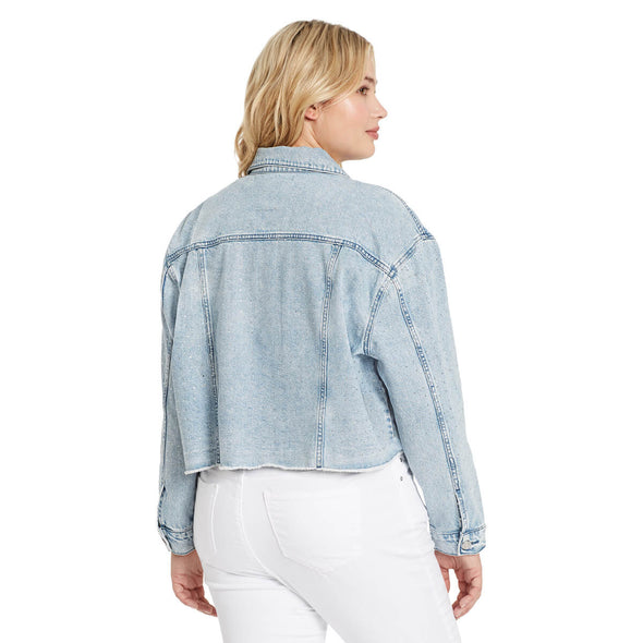 Denim Studded Crop Jacket - Genesee (Plus)