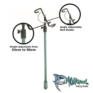New Deluxe Adjustable Fishing Rod Holder Adjusts from 53 cm to 90 cm Bank Stick