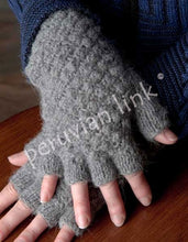 Textured Fingerless Alpaca Gloves