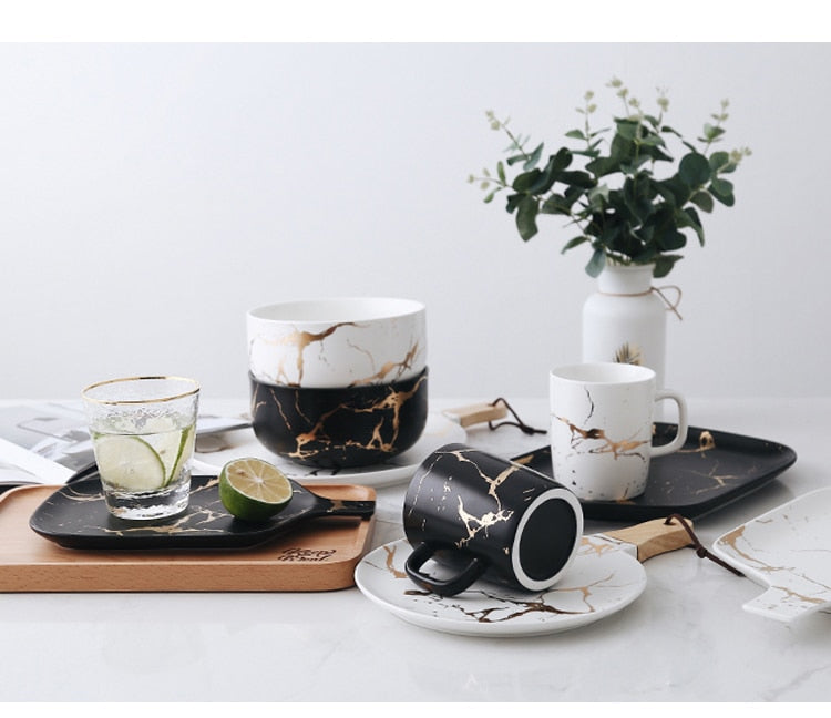 Kinzey White And Gold Marble Tableware