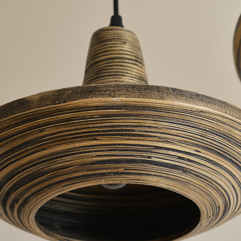 Southeast Asian Bamboo Teardrop Light Fixture