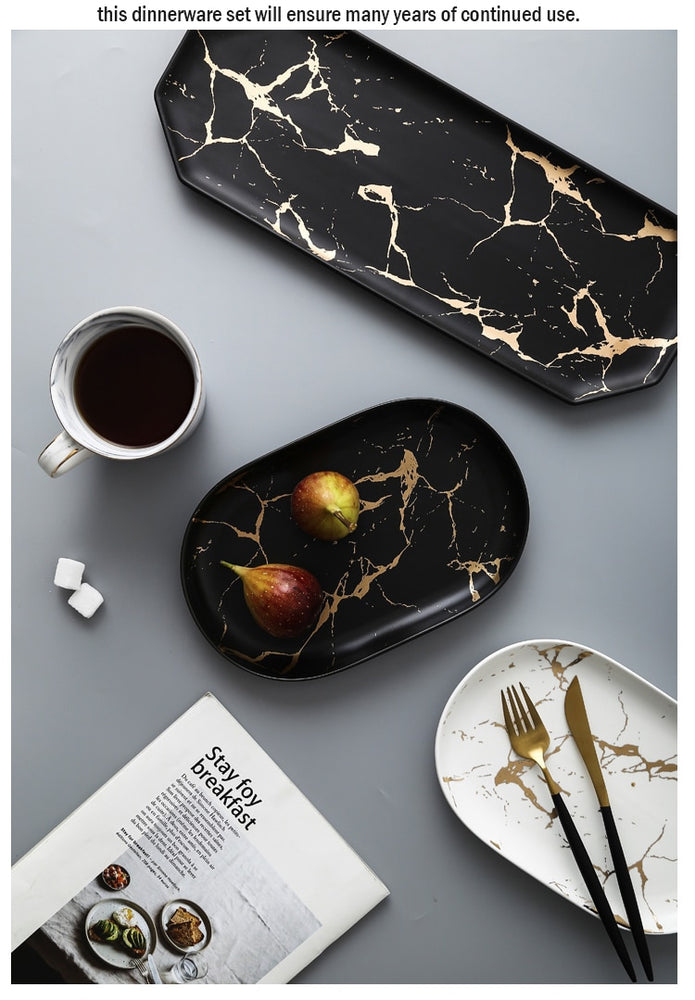 Kinzey Black And Gold Marble Serving Trays