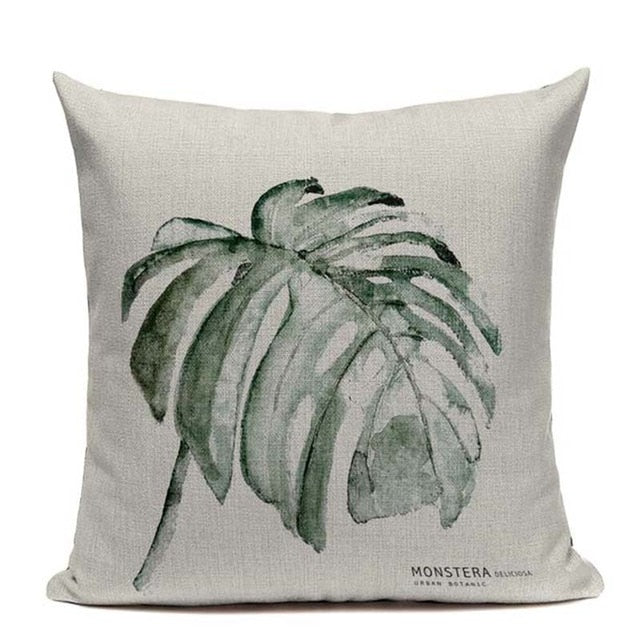 Monstera Boho Throw Pillow Cover