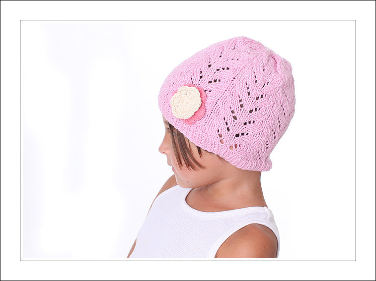 Lacy Look Beanie With a Blossom - Chizipoms