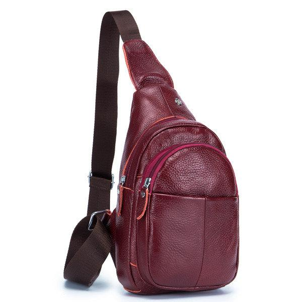 Women & Men Leisure Genuine Leather Crossbody Bag Sling Bag