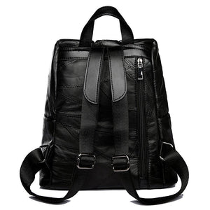 Unisex Fashion Zipper Genuine Leather  Rivet Backpacks