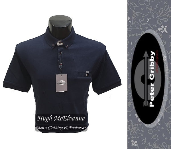 King Size Navy Jersey Polo Shirt by Peter Gribby Style: PJ19126 - Hugh McElvanna Menswear