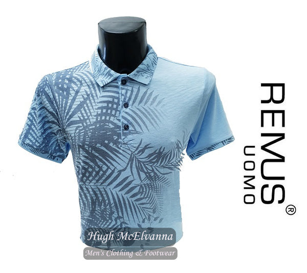 Fashion Polo Shirt Leaf Design By Remus Uomo Style: 58361/22 - Hugh McElvanna Menswear
