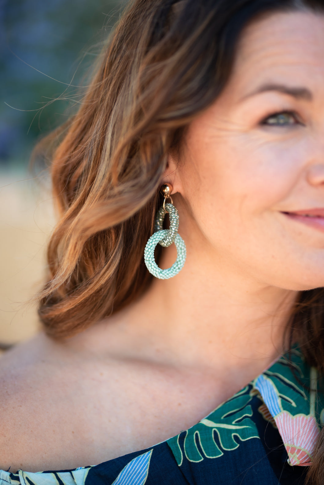 Beaded Double Hoop Earring - Mint