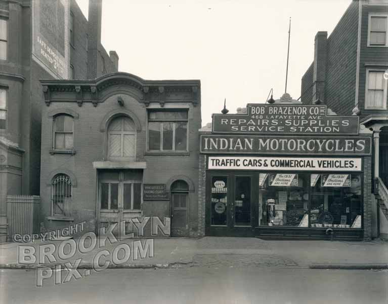 Indian Motorcycle dealership and former carriage house at 468 Lafayette Avenue, 1930
