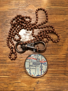 Albion Map Pendant Necklace Small Circle - Chella's Collection