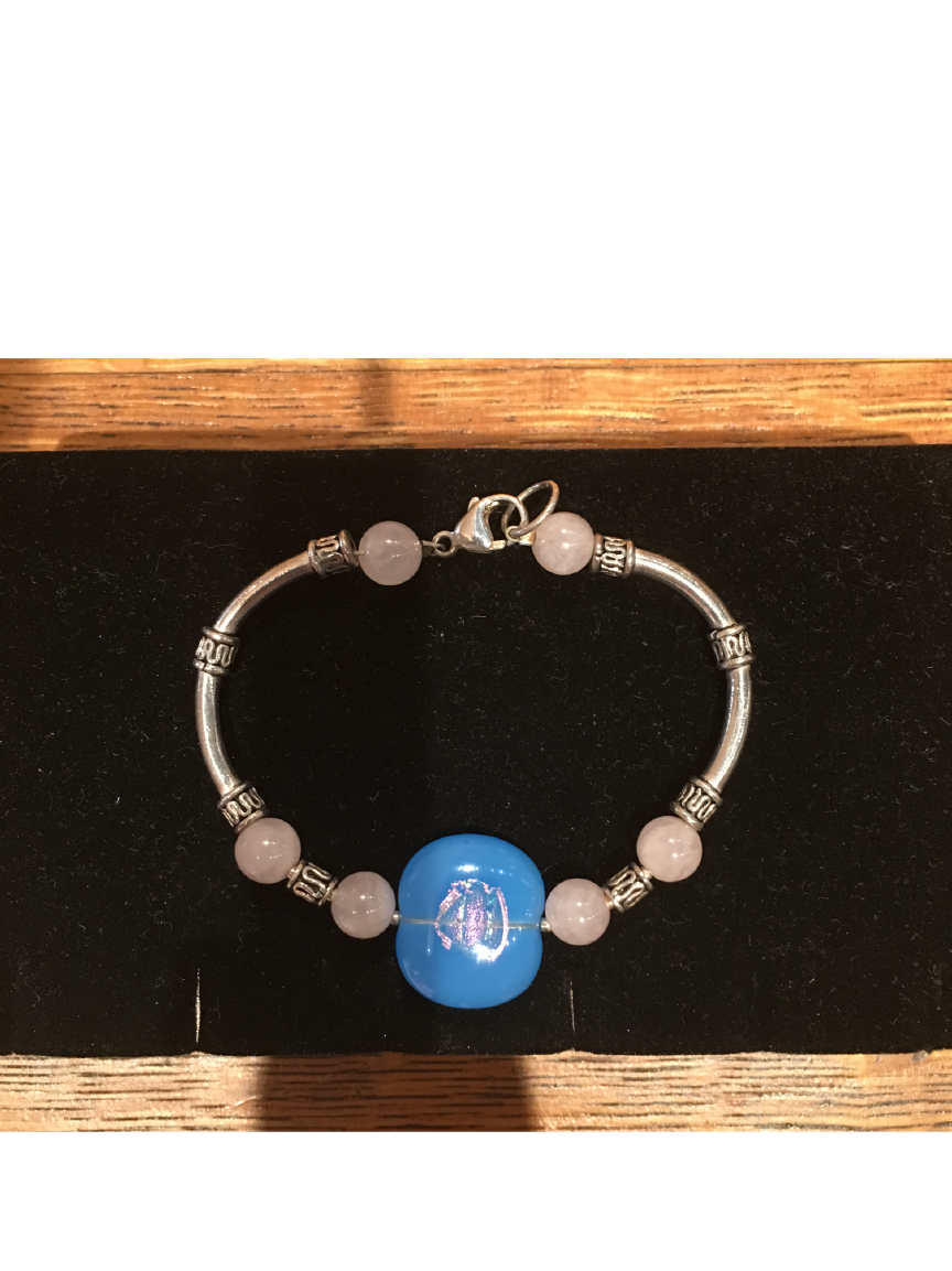 Light Blue with Pink Etched High Glass Bead Bracelet By Bobbie VanEck
