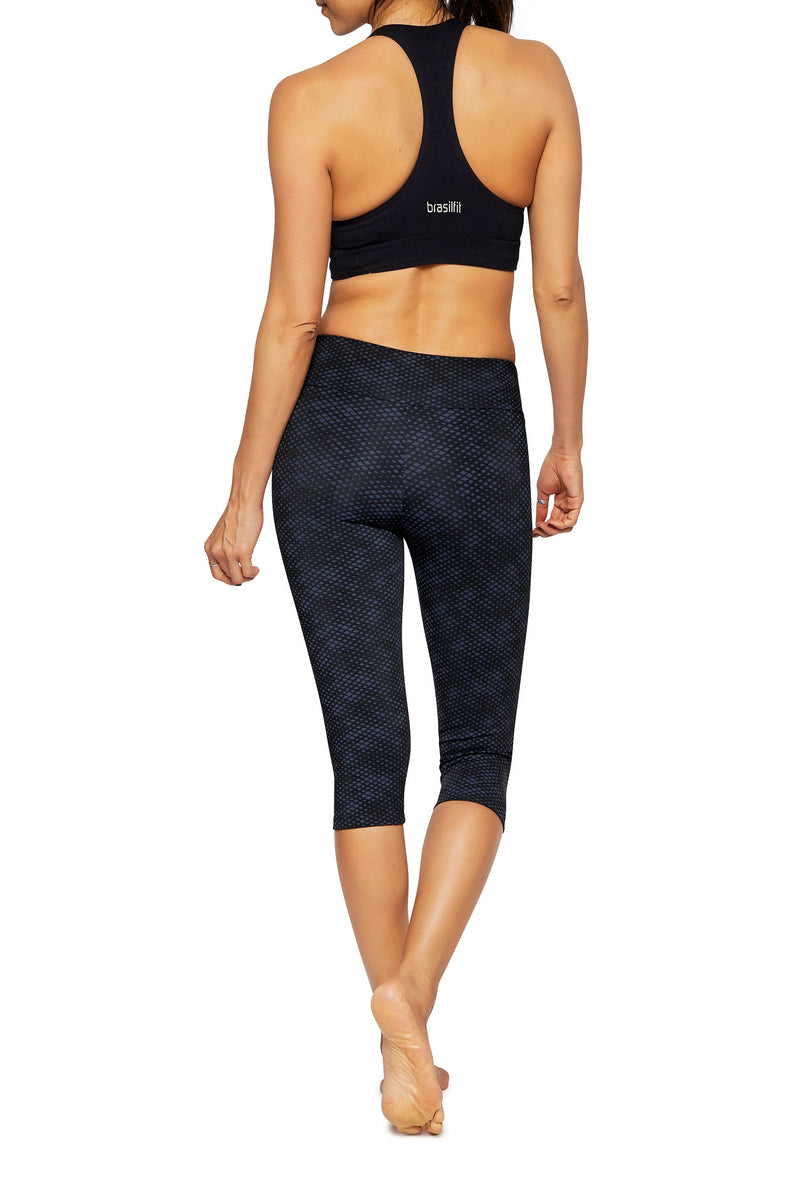 Brasilfit Australia Activewear High compression sports tights Jewel - beautiful dark navy and black geometrical chic pattern just below the knee cap length - back view