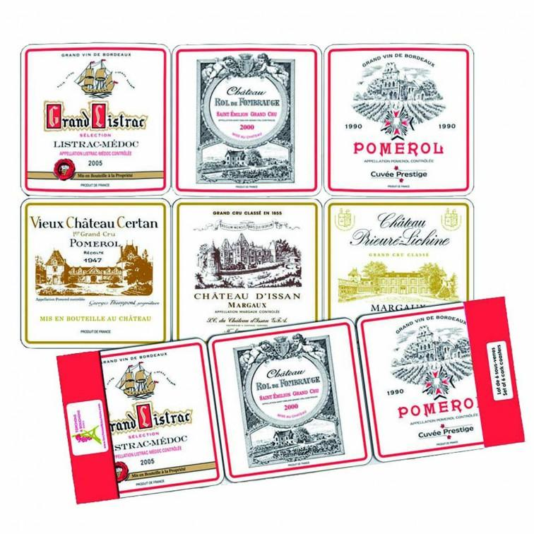 Set of 6 Wooden Coasters Bordeaux