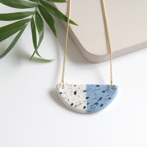 Blue Speckled Half Moon Ceramic Necklace