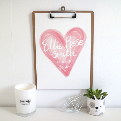 Personalised Baby Girl Watercolour Print