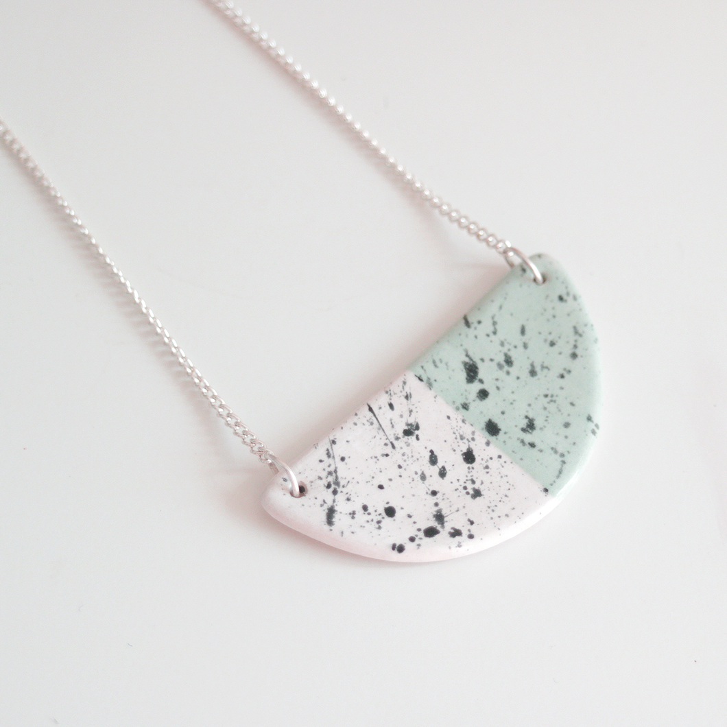 Green Speckled Ceramic Necklace