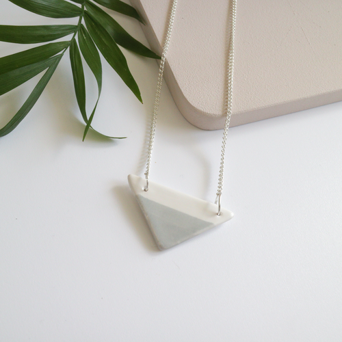 Grey Triangle Ceramic Necklace