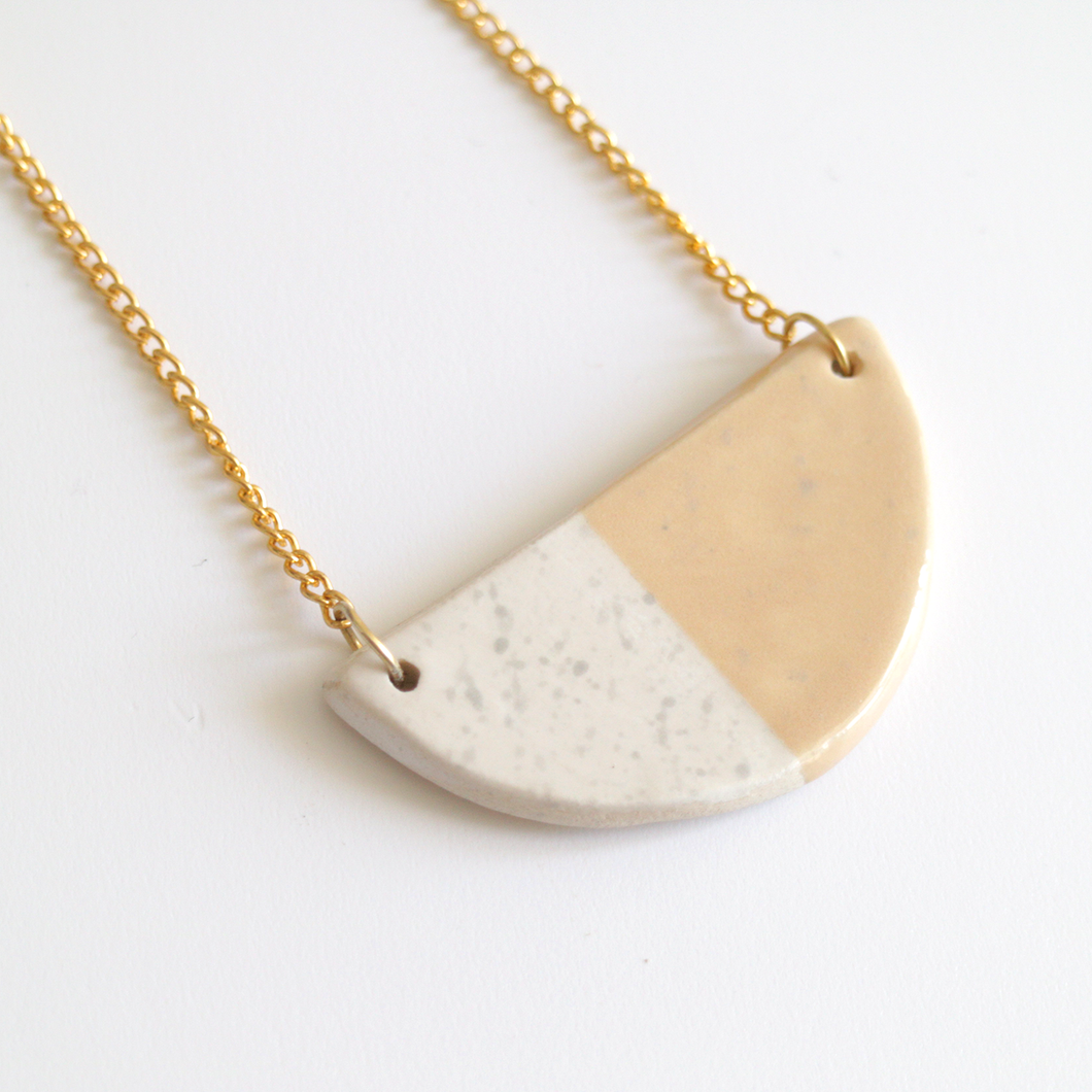 Peach Grey Speckled Ceramic Necklace