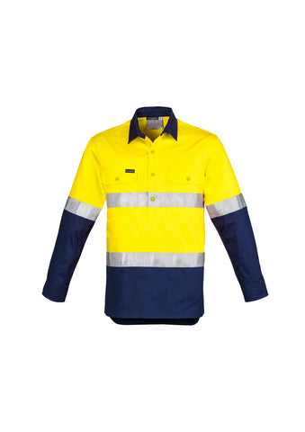 MENS ZW550 HI VIS CLOSED FRONT L/S SHIRT - HOOP TAPED