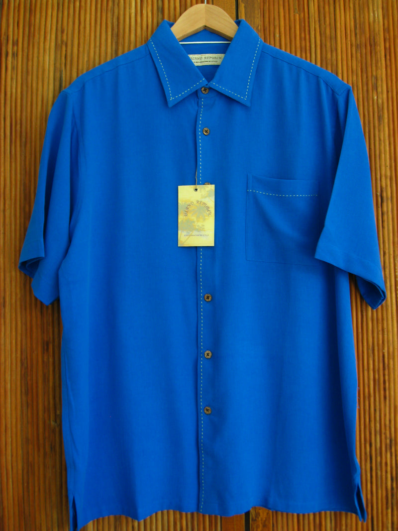 Silk Waffle Weave Solid Pocket Camp Shirt - True Blue - Large